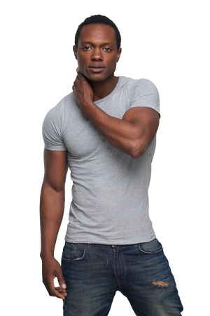 Portrait of a handsome african american man i fashion pose photo