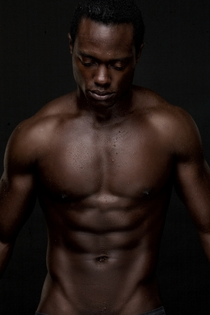 african american nude: Portrait of an athletic african american man topless