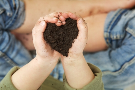 Child hands holding soil in heart shape - above view photo