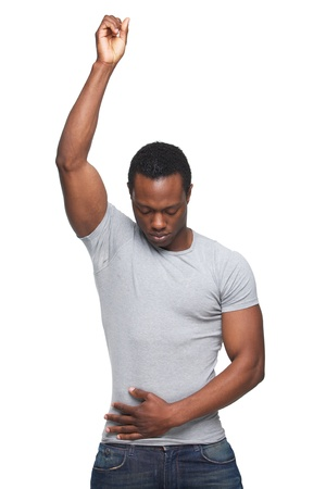 one eye closed: Portrait of an african american man with hand up in air Stock Photo