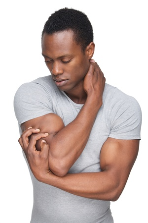 'eyes shut: Portrait of a handsome African American man in sensual pose Stock Photo