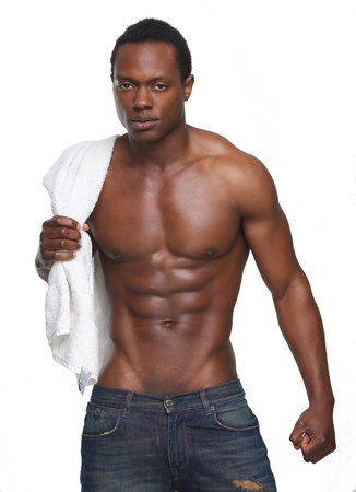 african american nude: Portrait of a muscular african american man with no shirt