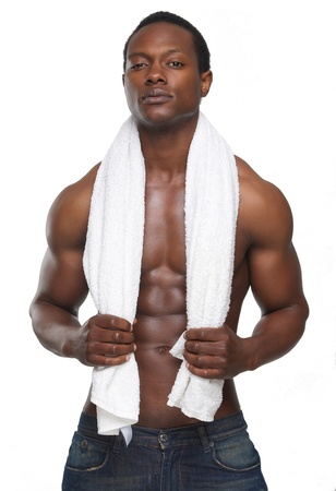 naked african: Portrait of a sexy african american man with towel Stock Photo