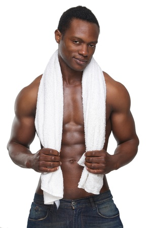 african american nude: Portrait of a sexy african american man holding towel over his shoulders Stock Photo