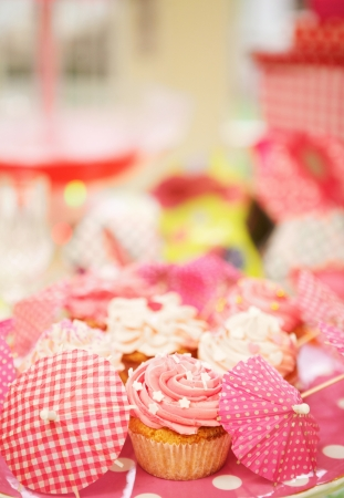 Homemade cupcakes decorated with frosting and assortments Stock Photo - 18561151
