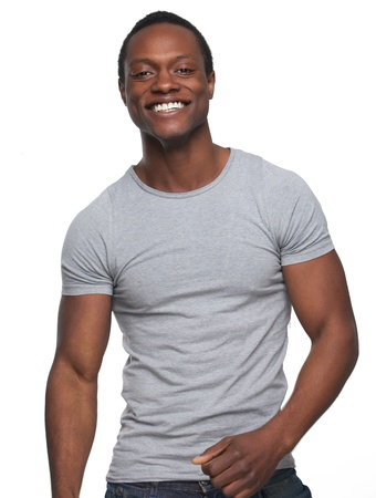 jeans model: Portrait of a handsome young african american man