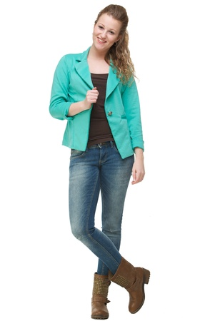 Portrait of a beautiful young woman with jacket photo