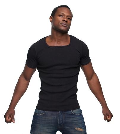 black man: Portrait of a handsome African American man