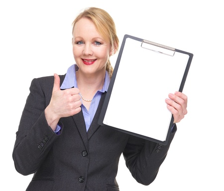 Portrait of a businesswoman showing empty sign clipboard with thumbs up isolated on white photo
