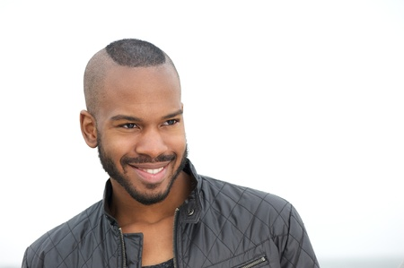 man face close up: Close up portrait of a handsome young black man smiling