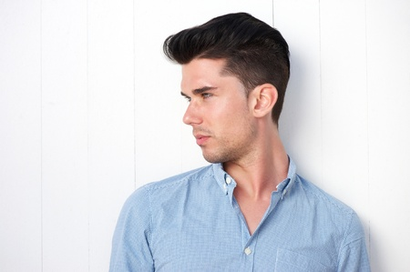 good looking model: Profile portrait of an attractive you man with modern hairstyle