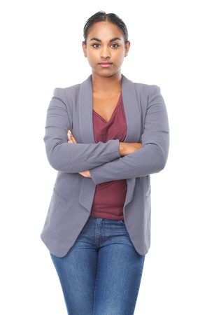black woman face: Closeup portrait of a relaxed young woman with arms crossed isolated on white background