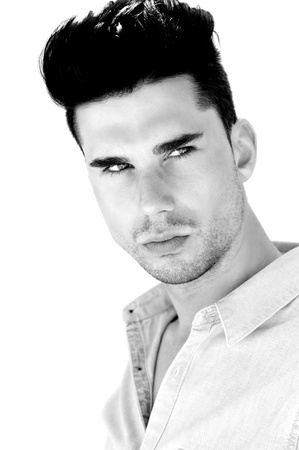 good looking model: Black and white closeup portrait of an attractive young man