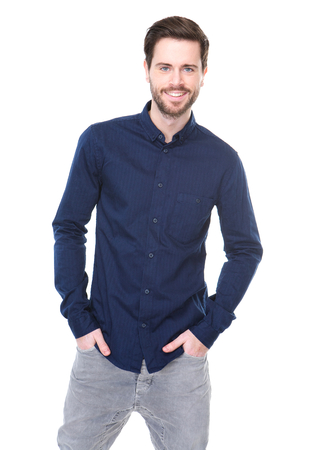 jeans model: Portrait of a cheerful young man smiling on isolated white background