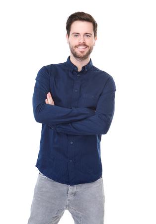 Portrait d'un jeune homme souriant sur fond blanc isolé Banque d'images - 22308134