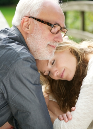 father daughter: Closeup portrait of a loving father and beautiful daughter together Stock Photo