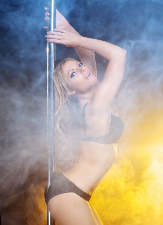 Close up portrait of an beautiful pole dance woman posing in lingerie photo