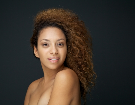 Close up beauty portrait of a young woman with naked shoulders Stock Photo - 24088250