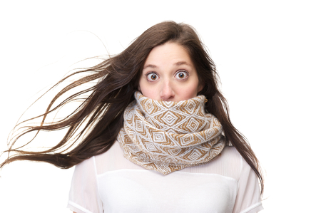 Close up portrait of a surprised woman isolated on white background photo