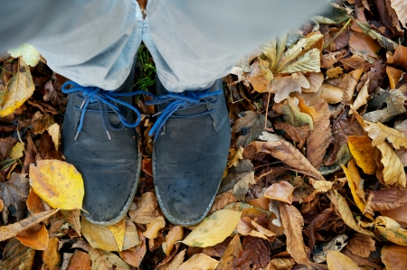 Two feet standing on brown autumn leaves from above photo