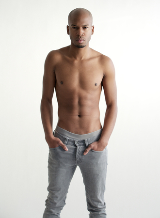 Portrait of a handsome black male fashion model shirtless photo