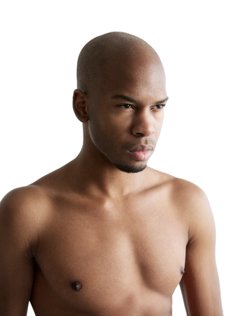 Close up portrait of a handsome male fashion model shirtless photo