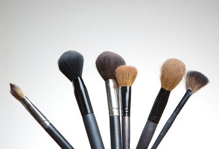 make up artist: Close up of a collection of professional make up artist brushes on white