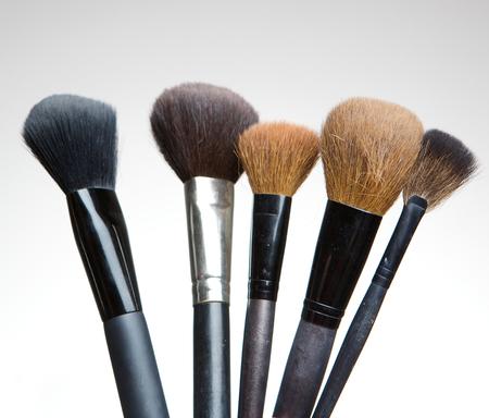 make up brushes: Close up assortment of professional make up brushes