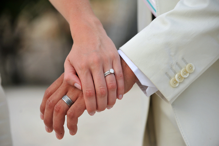 wedding ring hands: Close up bride and groom hands with wedding rings