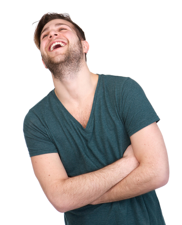 Portrait of a young man with beard laughing on isolated white background Stock fotó