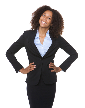 Portrait of a young black business woman smiling on isolated white background Stock Photo
