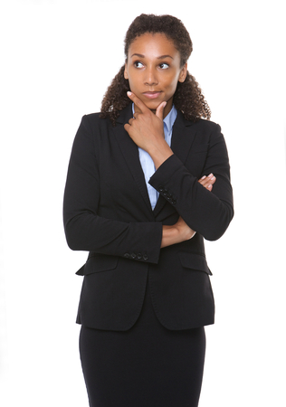 Portrait of a young business woman thinking on isolated white background Banco de Imagens - 30603207