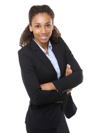 Portrait of an honest young business woman smiling with arms crossed Stok Fotoğraf