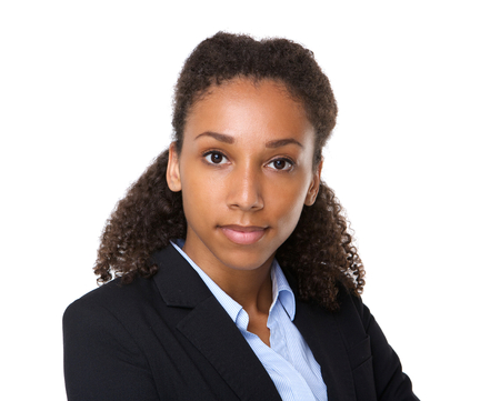 mixed race woman: Close up portrait of a young black business woman Stock Photo