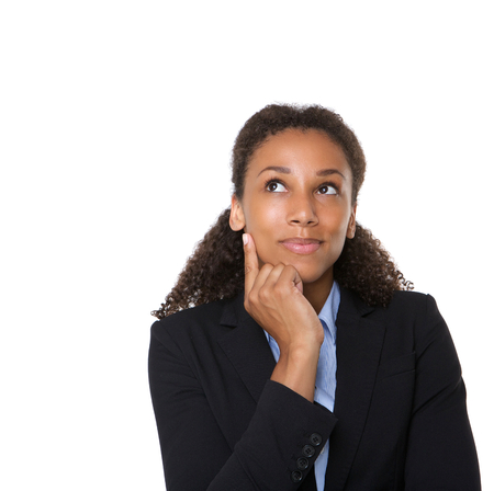 contemplate: Close up portrait of a smiling business woman thinking on isolated white background