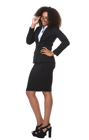 african business woman: Full length portrait of a happy business woman with glasses Stock Photo