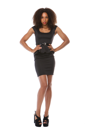 black dress: Full body portrait of a beautiful black fashion model with dress Stock Photo