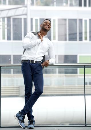 male fashion: Full length portrait of a black male fashion model smiling
