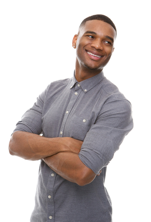 happy man: Close up portrait of a handsome black man smiling with arms crossed
