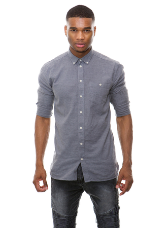 Portrait of an african american male fashion model posing on isolated white background