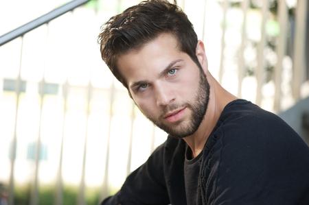 male fashion: Close up portrait of a male fashion model with beard Stock Photo