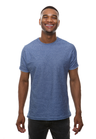 persons: Portrait of a happy african american man smiling on isolated white background