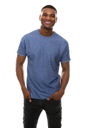 modelos posando: Portrait of a cool guy smiling on isolated white background Foto de archivo