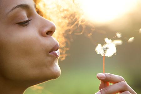 libertad: Retrato de una hermosa mujer joven que sopla flor de diente de le�n
