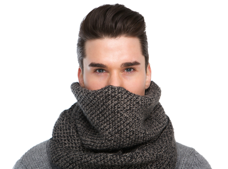 cool guy: Close up portrait of a cool guy with gray scarf covering face