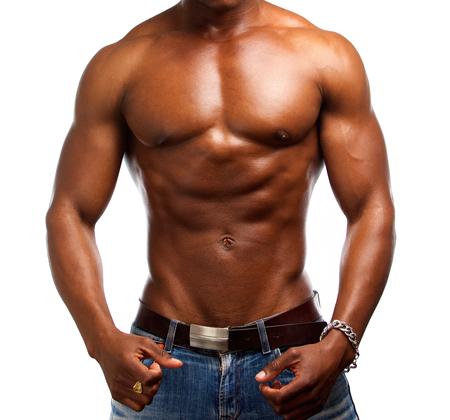 homme nu: Portrait d'un homme torse nu muscl� african american ajustement Banque d'images