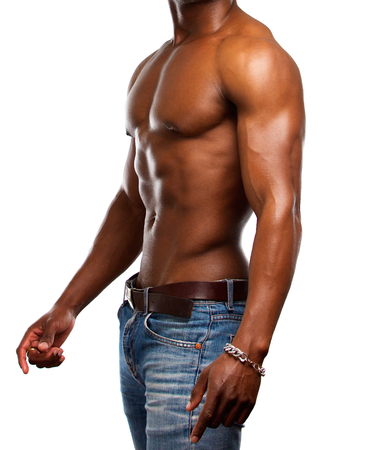 männer nackt: Side Porträt einer gesunden muskulösen Mannes ohne Hemd Lizenzfreie Bilder