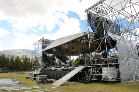 gig: Outdoor festival concert main stage set up Stock Photo