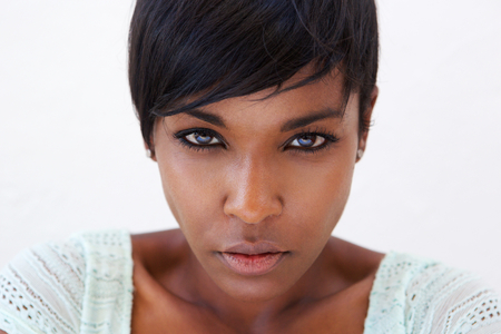 woman serious: Close up portrait of an african american female fashion model face