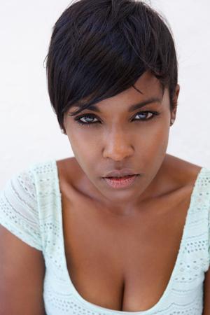 Close up portrait of an attractive black female fashion model